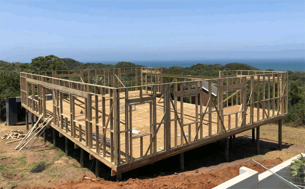 Timber Frame House being Built, Eastern Cape