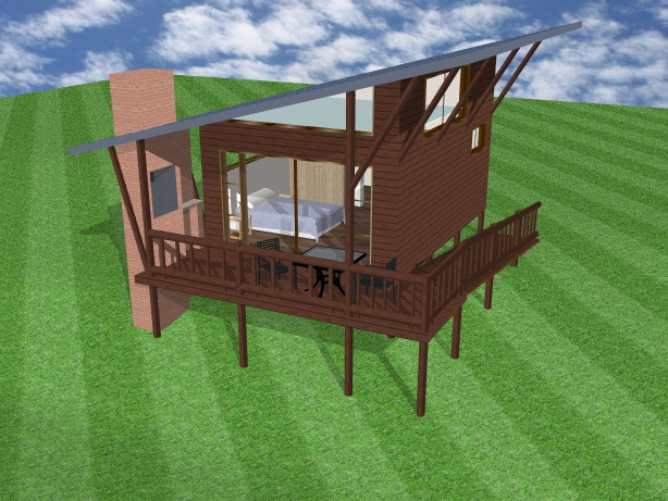 3D image of a one bed chalet, log cabin