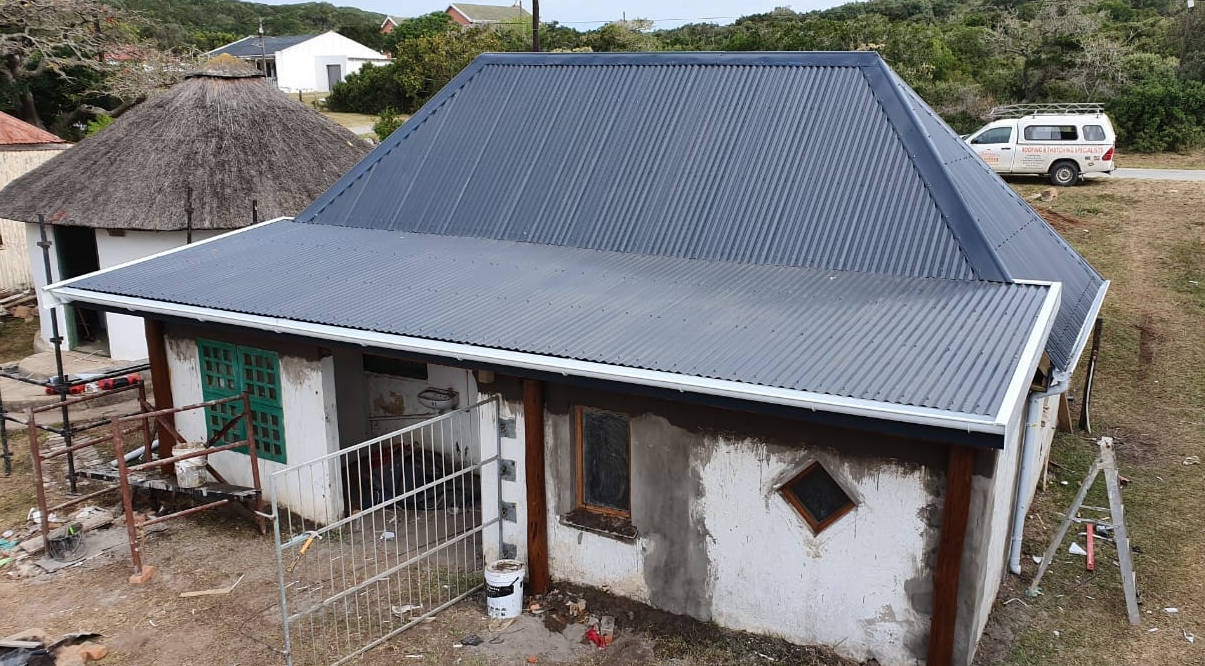 Thatch roof converted to corrugated roof sheeting in Hamburg, Eastern Cape