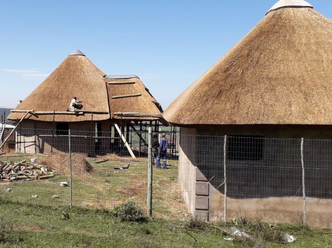 The main roof being thatched